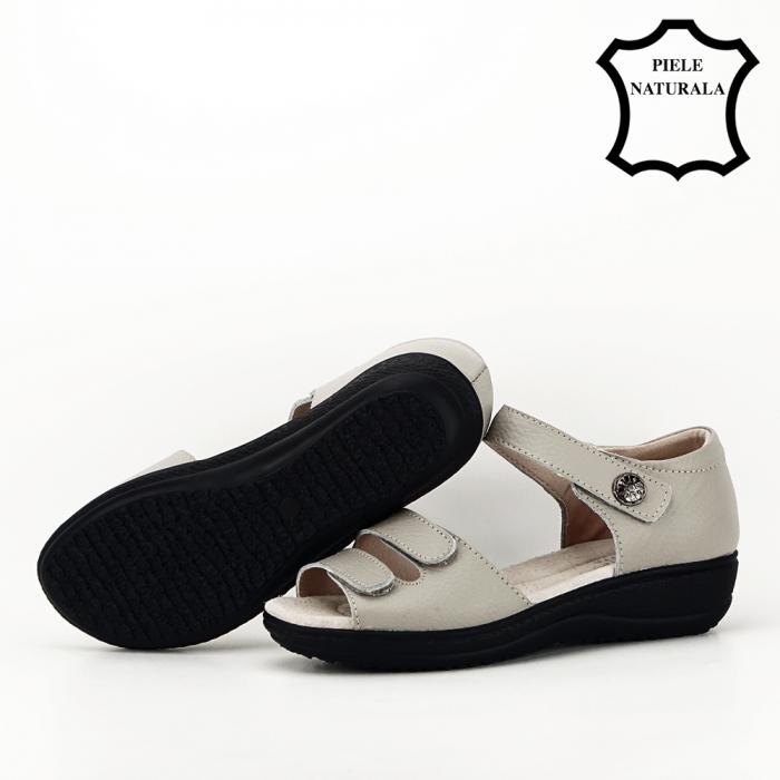 Sandale gri din piele naturala Agata 8