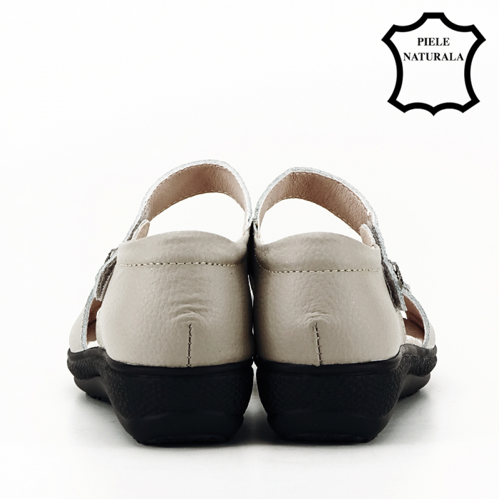 Sandale gri din piele naturala Agata 4