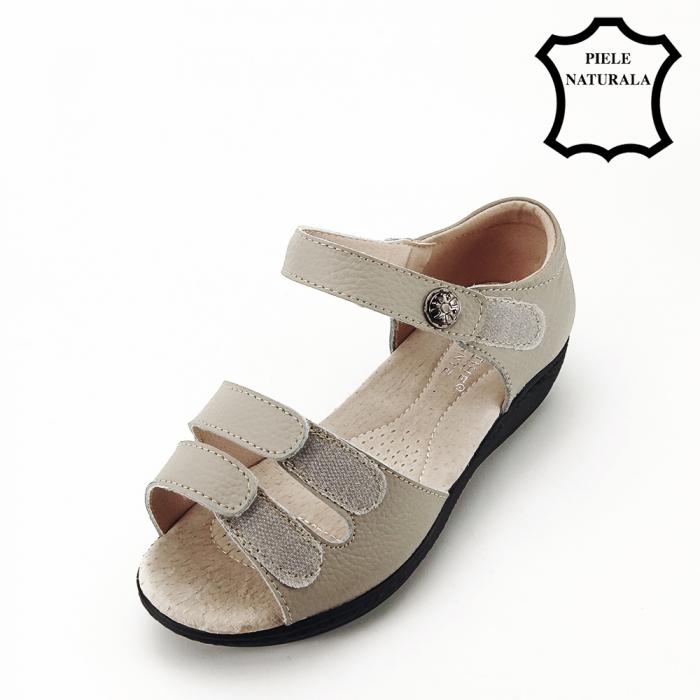 Sandale gri din piele naturala Agata 5