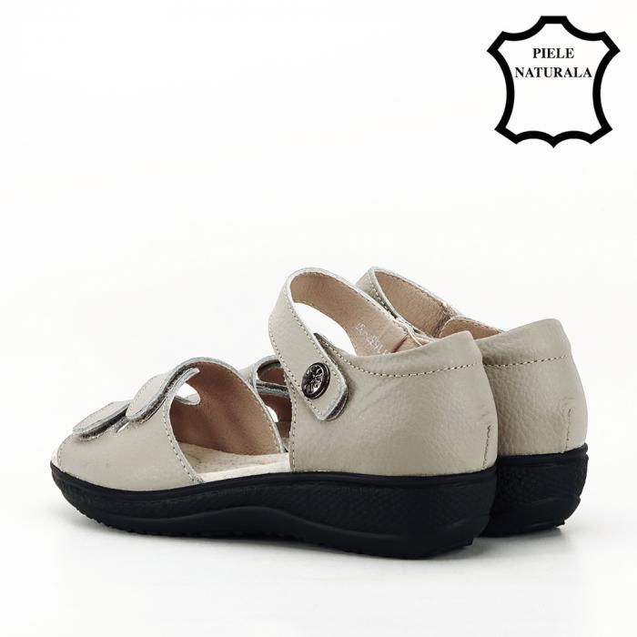 Sandale gri din piele naturala Agata 7