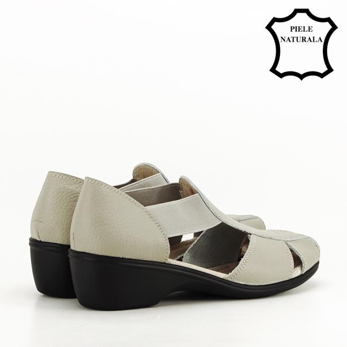 Sandale gri din piele naturala Calypso 3