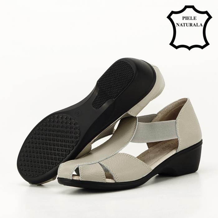 Sandale gri din piele naturala Calypso 4