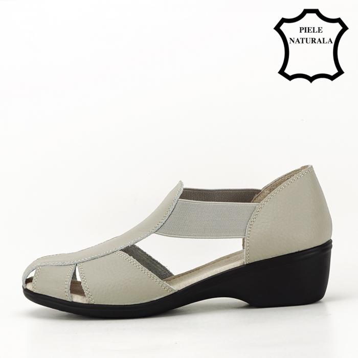 Sandale gri din piele naturala Calypso 1