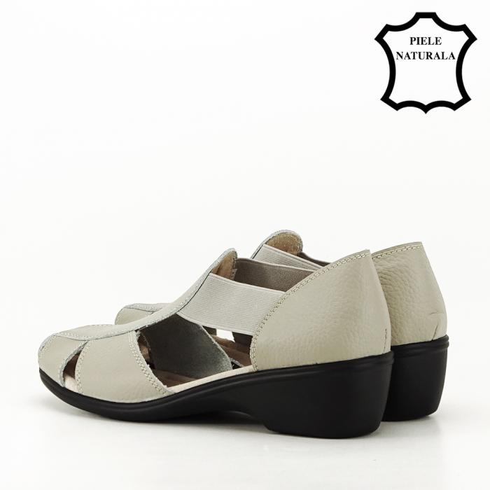 Sandale gri din piele naturala Calypso 5