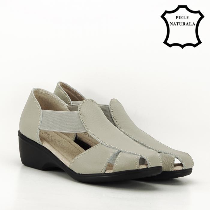 Sandale gri din piele naturala Calypso 6
