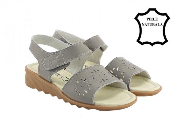 Sandale gri din piele naturala Catis 1
