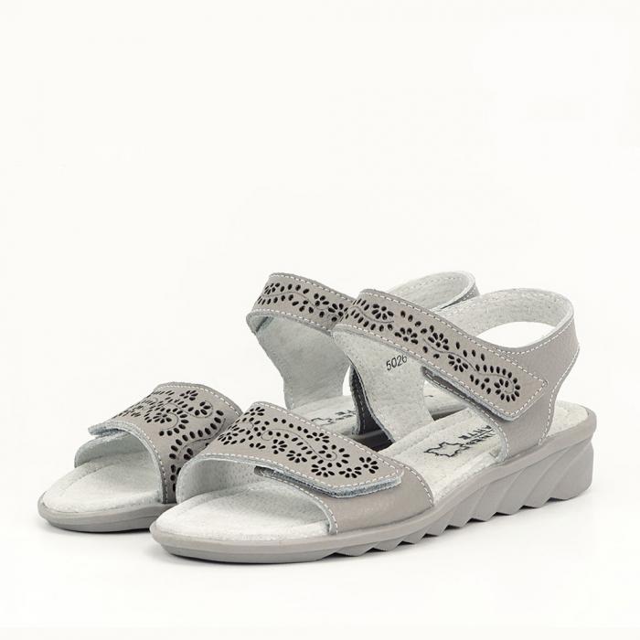 Sandale gri din piele naturala Freda 0