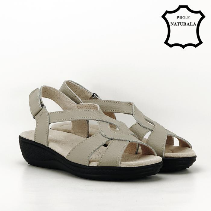 Sandale gri din piele naturala Mabel [5]