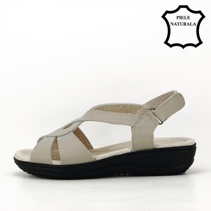 Sandale gri din piele naturala Mabel [2]