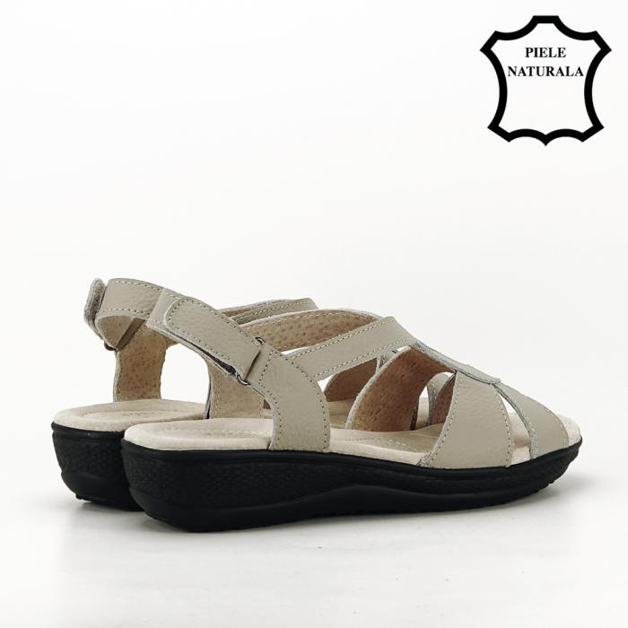 Sandale gri din piele naturala Mabel [3]