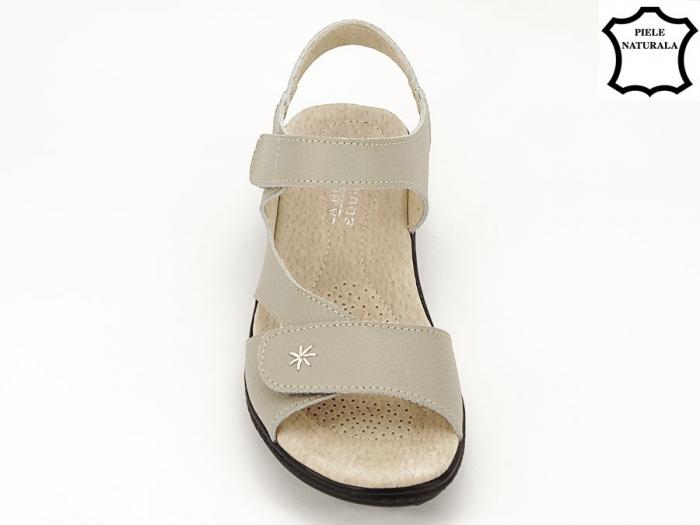 Sandale dama gri din piele naturala Sara 6