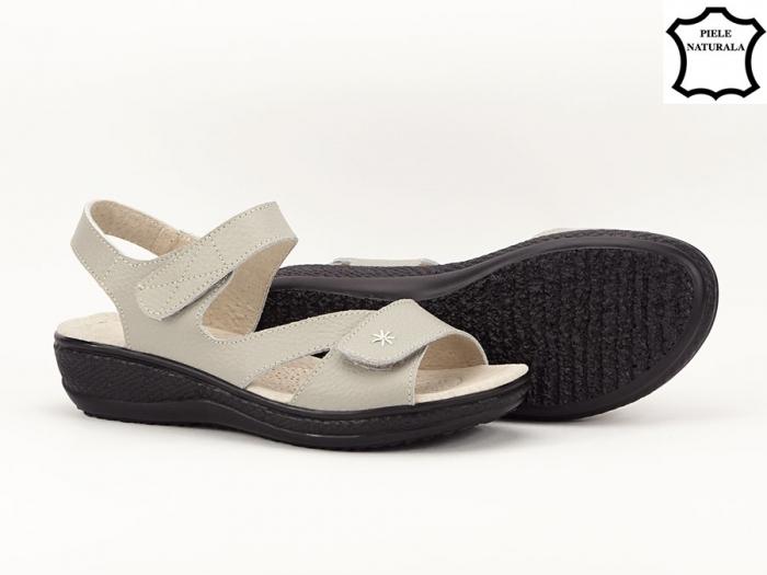 Sandale dama gri din piele naturala Sara 5