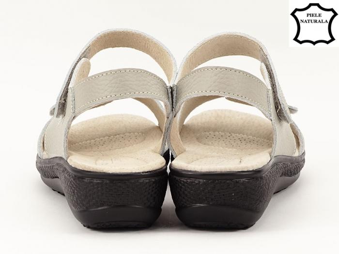 Sandale dama gri din piele naturala Sara 3