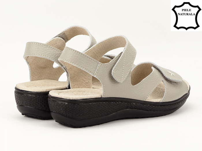 Sandale dama gri din piele naturala Sara 2