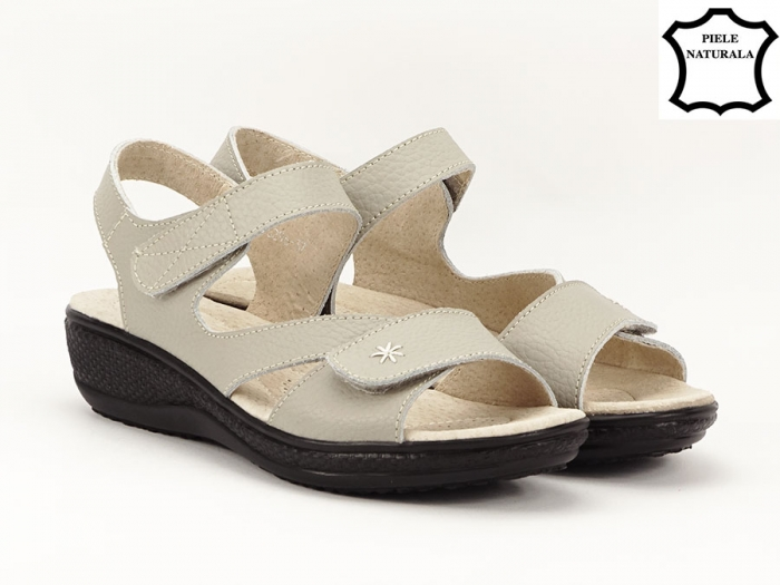 Sandale dama gri din piele naturala Sara 1