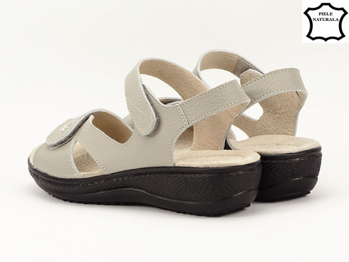 Sandale dama gri din piele naturala Sara 4