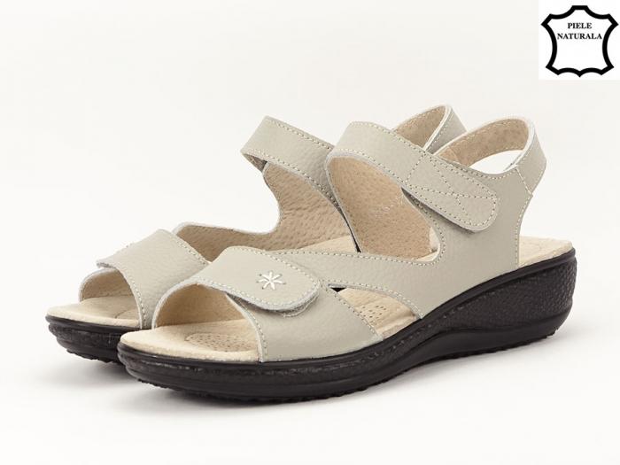 Sandale dama gri din piele naturala Sara 7