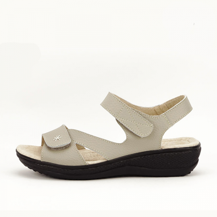 Sandale dama gri din piele naturala Sara 0