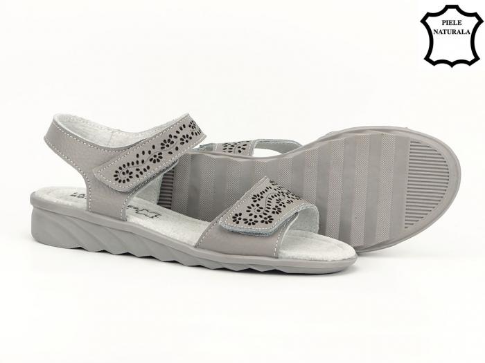 Sandale gri din piele naturala Freda 7