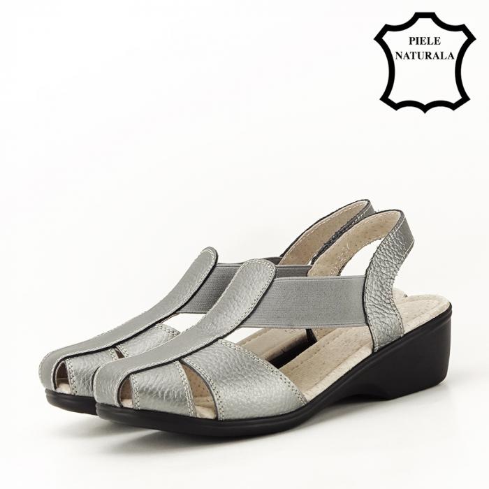 Sandale gri metalizat din piele naturala Codruta 1