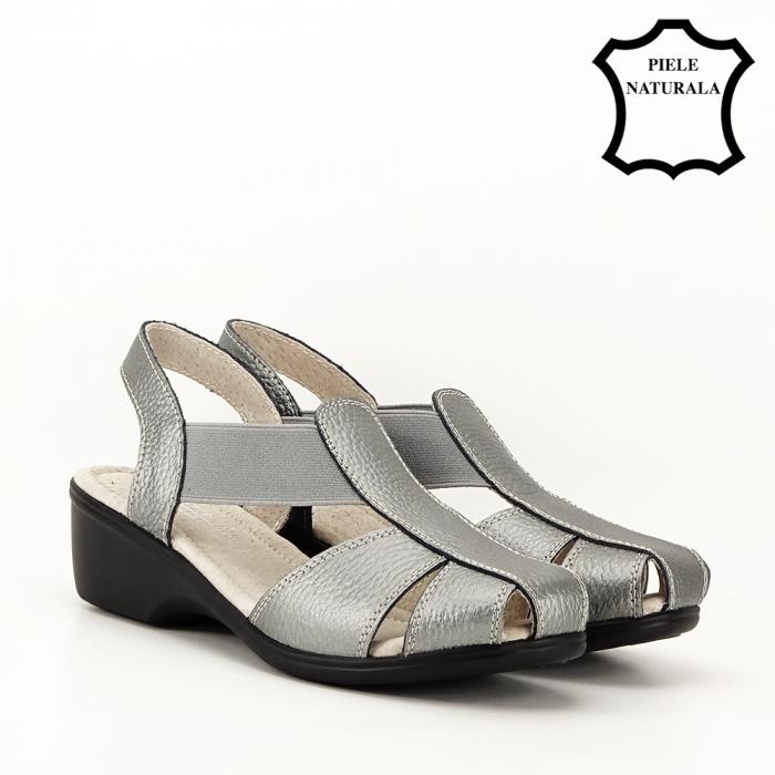 Sandale gri metalizat din piele naturala Codruta 6