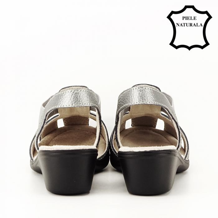 Sandale gri metalizat din piele naturala Codruta 4