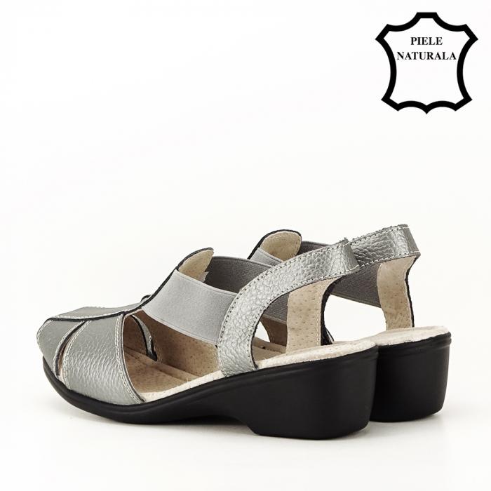 Sandale gri metalizat din piele naturala Codruta 7
