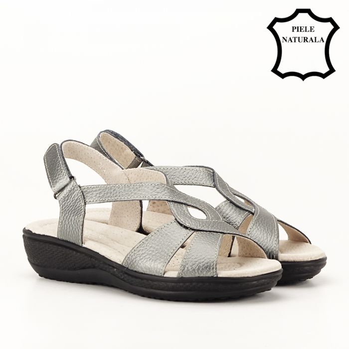 Sandale gri metalizat din piele naturala Mabel [3]