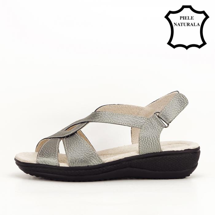 Sandale gri metalizat din piele naturala Mabel [1]