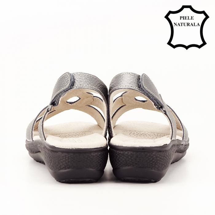 Sandale gri metalizat din piele naturala Mabel [6]