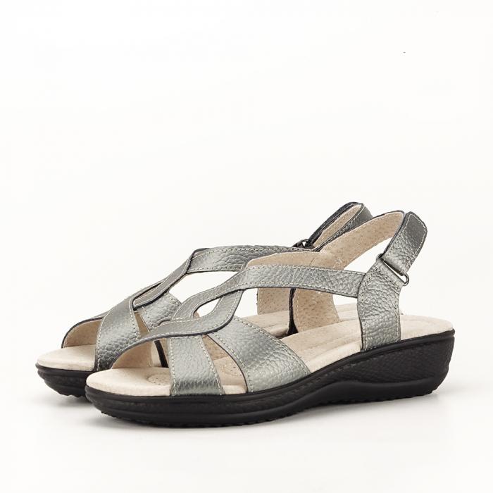 Sandale gri metalizat din piele naturala Mabel [0]