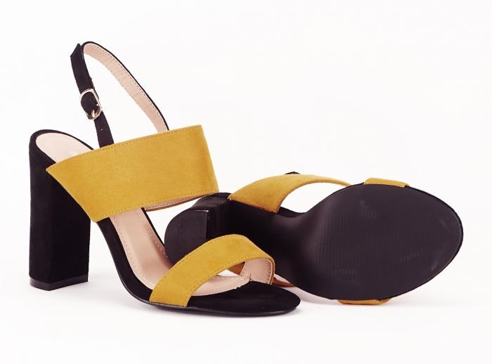 Sandale dama in doua culori negru si galben Cassiana 1