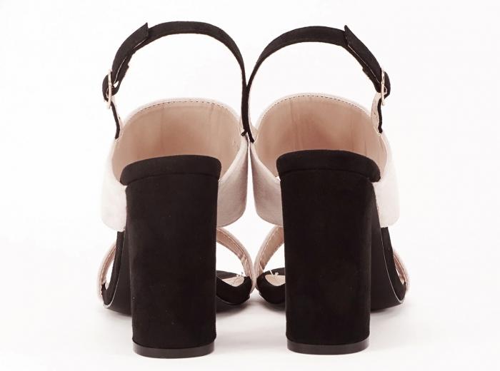 Sandale dama in doua culori negru si bej cu toc gros Casiana 4