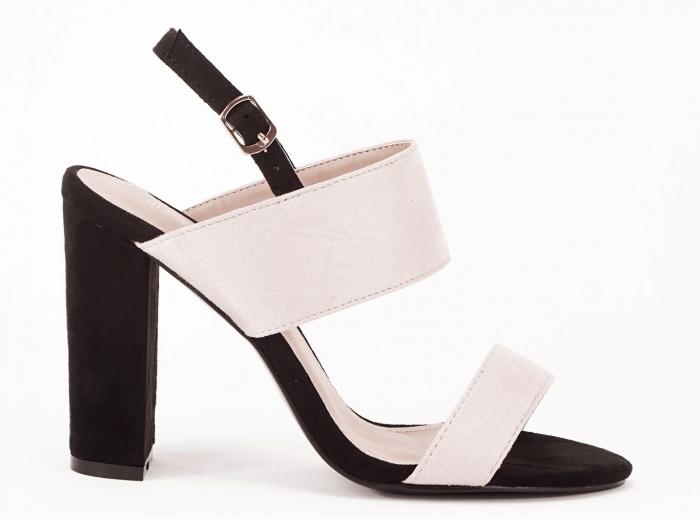 Sandale dama in doua culori negru si bej cu toc gros Casiana 0