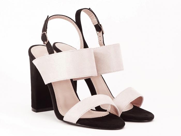 Sandale dama in doua culori negru si bej cu toc gros Casiana 1
