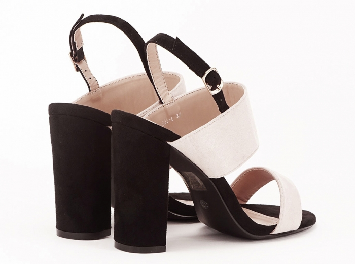Sandale dama in doua culori negru si bej cu toc gros Casiana 2
