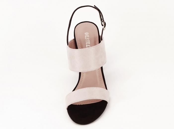 Sandale dama in doua culori negru si bej cu toc gros Casiana 5
