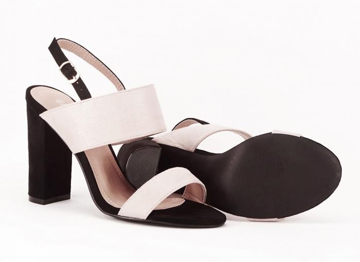 Sandale dama in doua culori negru si bej cu toc gros Casiana [3]