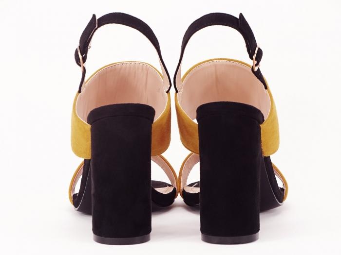 Sandale dama in doua culori negru si galben Cassiana 2