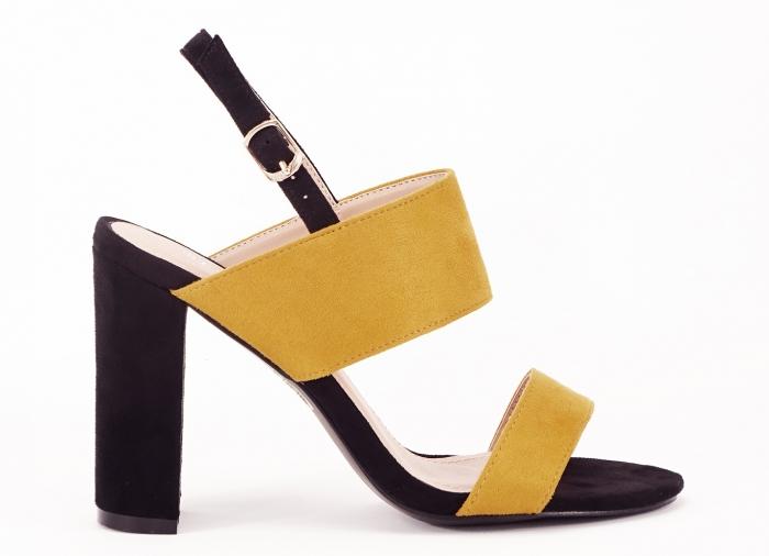 Sandale dama in doua culori negru si galben Cassiana 0