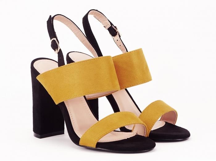 Sandale dama in doua culori negru si galben Cassiana 3