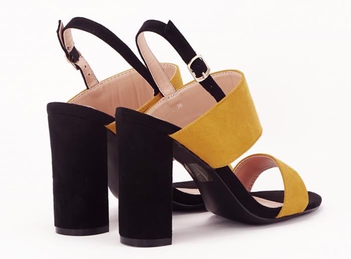 Sandale dama in doua culori negru si galben Cassiana 4