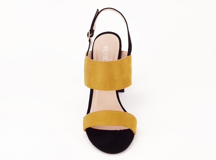 Sandale dama in doua culori negru si galben Cassiana 5