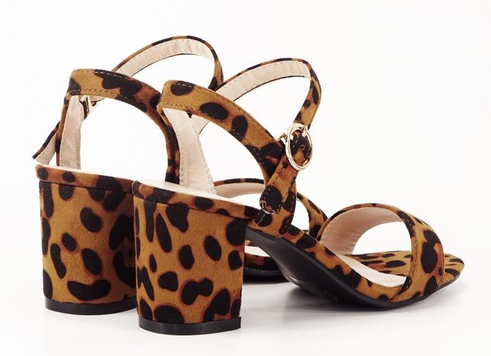 Sandale dama cu imprimeu leopard cu toc mic Daria 1