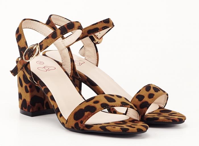 Sandale dama cu imprimeu leopard cu toc mic Daria 3