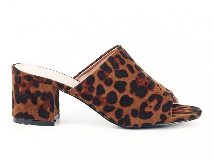Sandale leopard print cu toc gros si mediu Anca 0