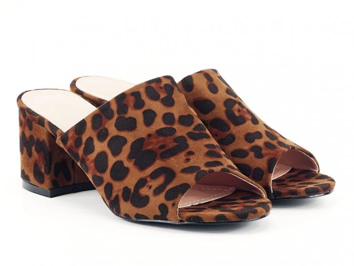 Sandale leopard print cu toc gros si mediu Anca 1