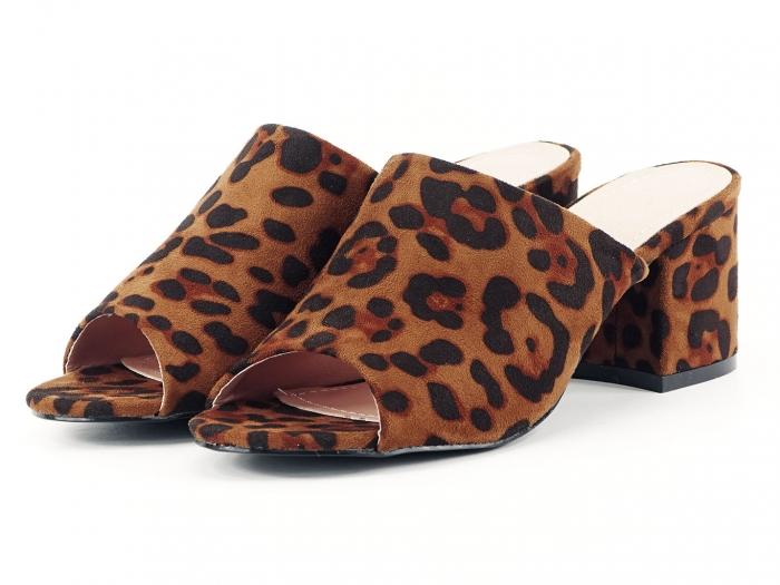 Sandale leopard print cu toc gros si mediu Anca 6