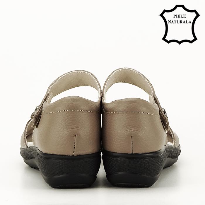 Sandale maro deschis din piele naturala Agata 4