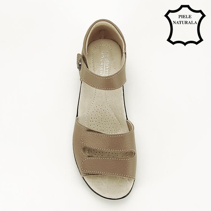 Sandale maro deschis din piele naturala Agata 2